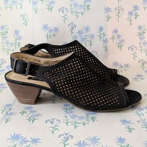 NEW Paul Green Lois Black Cut Out Peep Toe Heels